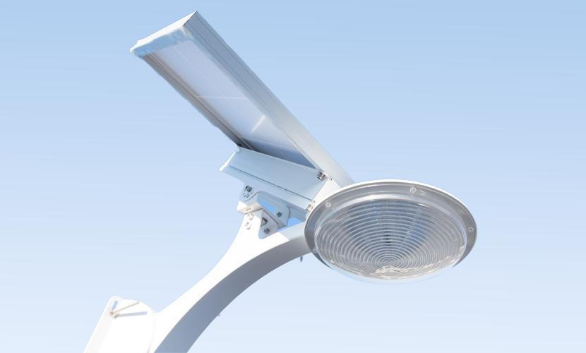 太陽光だから災害時にも強いソーラー防犯灯・ソーラー非常灯のSMLの横向きズーム写真