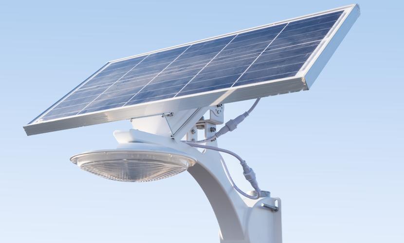 太陽光だから災害時にも強いソーラー防犯灯・ソーラー非常灯のSMLの横向きアップ写真
