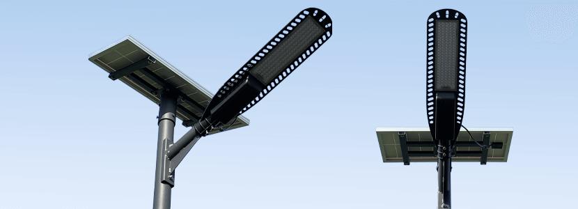 二つの角度から撮ったソーラー外灯SIGEN-N1